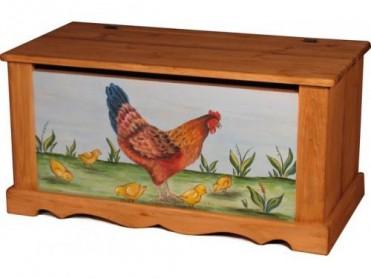 «Pin Magic». Сундук 100 с росписью «Курица с цыплятами на голубом фоне».