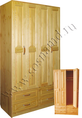 Шкаф 4-х дверный Герман-4я платяной с ящиками